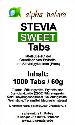 1000 Stevia Tabs im Nachfüllpack ohne Bitterstoffe