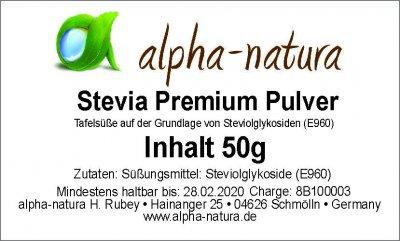 Stevia Premium Pulver 50g (15,90€/100g)