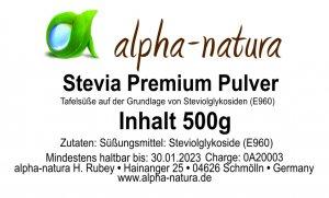 Stevia Premium Pulver 500g 9,99€/100g)